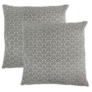 "Piper Collection Gray Geometric Velvet ""Neill"" Pillows - a Pair"