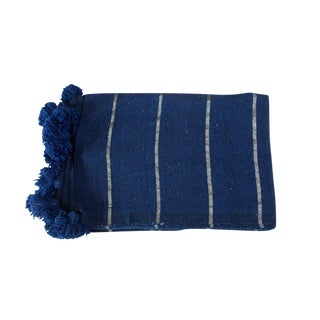 Moroccan Blue Silver Pom Pom Blanket
