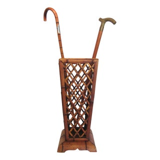 Vintage Bamboo Umbrella Stand with Walking Canes