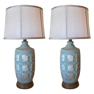 Mayan Glyph Ceramic Faux Copper Lamps - A Pair
