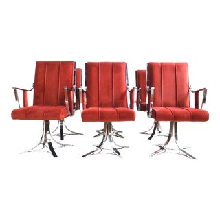 Mid-Century Modern Chrome & Rust Colored Velvet Swivel Chairs - Set of 6