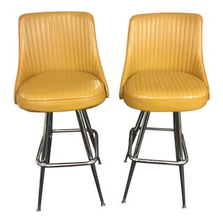 1969 Chromcraft Swivel Bar Stools - a Pair