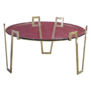 Jean Royere Style Deco Gilt Glasstop Coffee Table