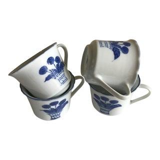 Blue & White Bouquet Porcelain Cups - Set of 4
