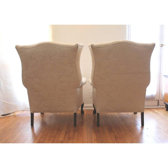 Pair of Monumental Damask Wing Chairs - Image 6 of 6