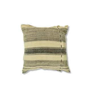 Vintage Hemp Black & Cream French Stripe Pillow - 10""