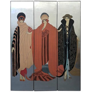Erte Style Art Deco Silver Leaf Screen Room Divider