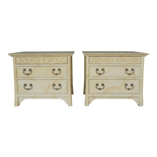 HENREDON FOLIO 16 Faux Goatskin Asian Style Nightstands - Pair
