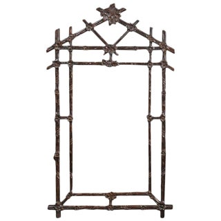 Carved Black Forest Mirror with Geometric Structure from the Mid 20th Century