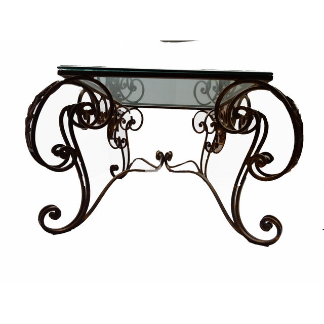 French style fer forge coffee table chairish - Petite table fer forge ...
