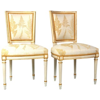 Cream & Gilt Accent Chairs by Baker - A Pair