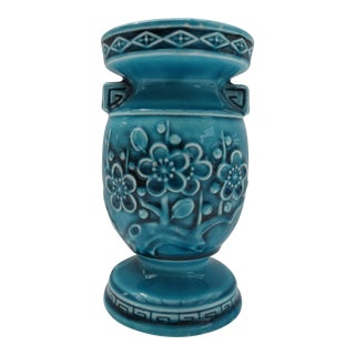 Turquoise Japanese Floral Motif Ceramic Vase