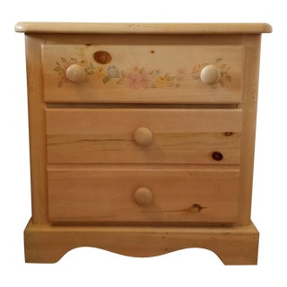Wooden Floral Nightstand