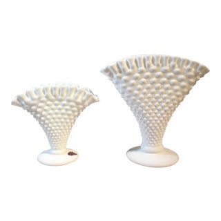 Fenton Hobnail Milk Glass Fan Vases - A Pair