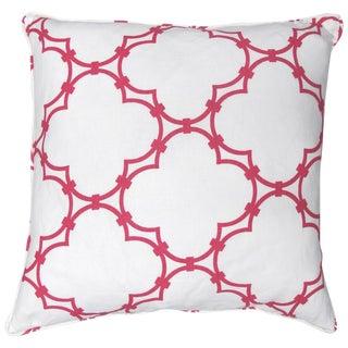 Cococozy Pink Quatrefoil 100% Linen Pillow