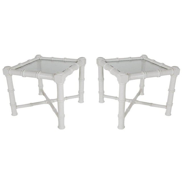 White Faux Bamboo Chinoiserie Tables - A Pair - Image 3 of 6