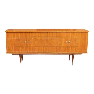 Long French Art Deco Exotic Mahogany Sideboard / Credenza / Bar Circa 1940s