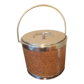 Mid-Century Cork and Metal Ice Bucket