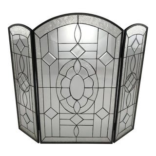 Leaded Beveled Glass Folding Fireplace Screen