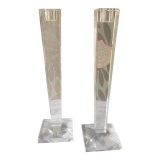 Oleg Cassini Crystal Candle Holders - a Pair