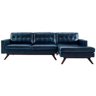 Antiqued Blue Tufted Leather Sectional Sofa