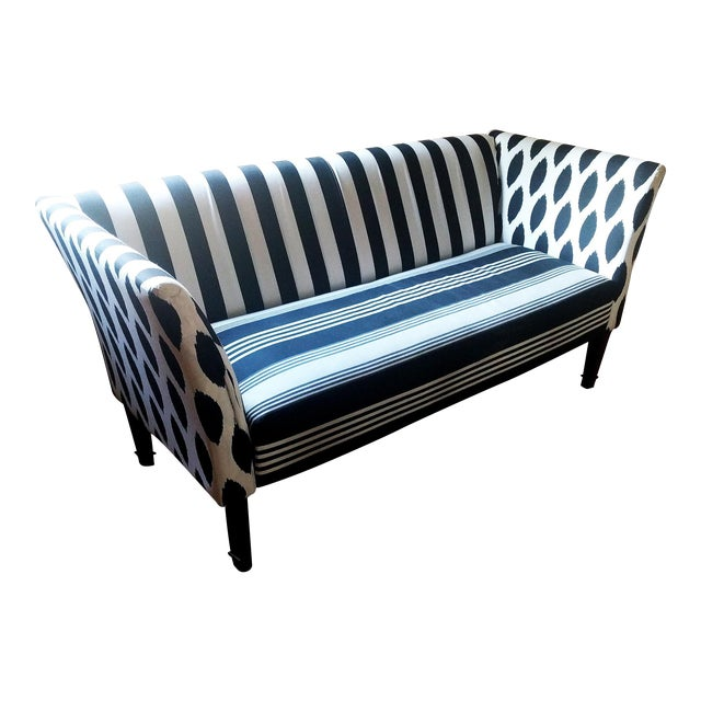 Black & White Stripe Ikat Loveseat - Image 1 of 5