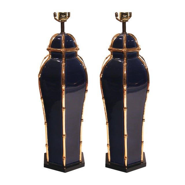 Vintage Navy & Gold Ceramic Table Lamps - A Pair - Image 1 of 4