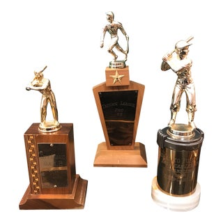 Vintage Baseball Trophies - Set of 3