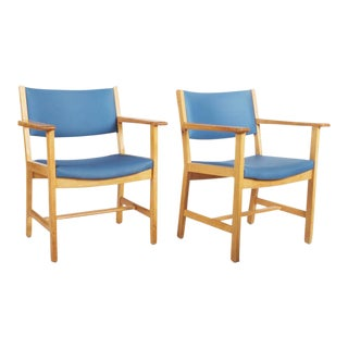 Lacquered oak vintage armchairs by Hans J. Wegner for Getama