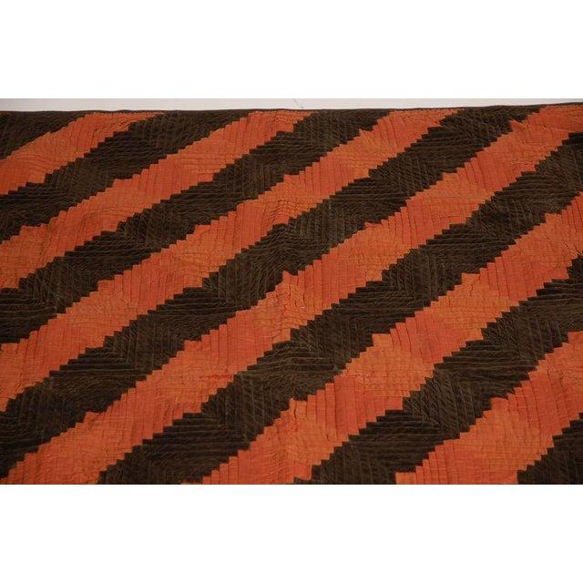 Fantastic 19thc Wool & Velvet Log Cabin Quilt - Image 7 of 7