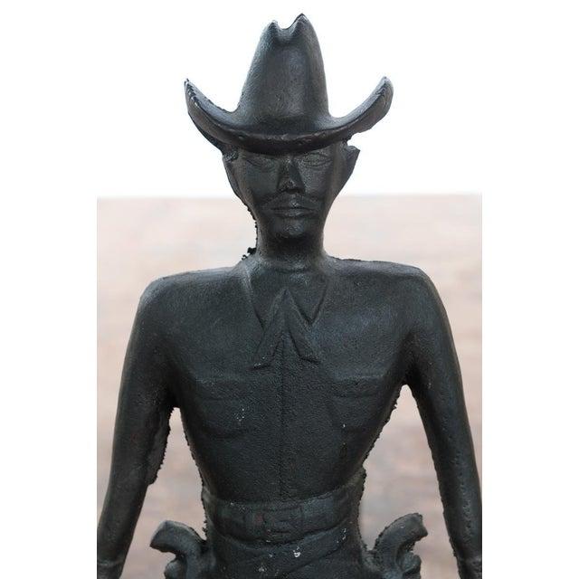 Vintage Cast Iron Figural Cowboy Andirons - A Pair - Image 5 of 9
