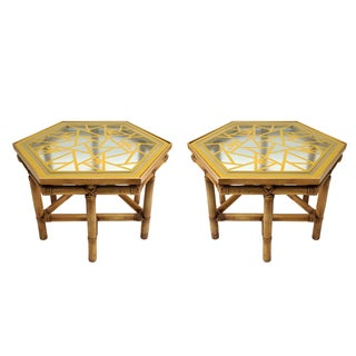 Rattan Fretwork Glass Top Side Tables - A Pair
