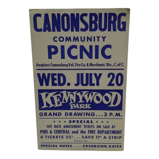 Circa 1950 Canonsburg Community Picnic Kennywood Park Poster