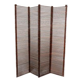 Mid-Century Modern Solid Wood Slat Room Divider