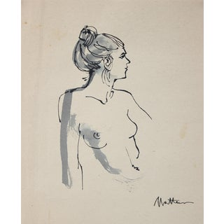 Mid 20th Century Nude Figure Drawing by Rip Matteson