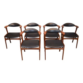 Erik Kirkegaard Danish Teak and Leather 'Bullhorn' Dining Chairs - Set/6