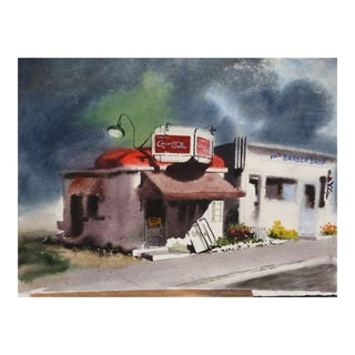 Irv Wyner: Corner Store With Coca Cola Sign, Watercolor Painting