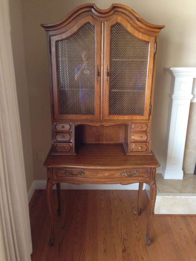 Vintage Thomasville Maple Secretary Desk With Hutch And Needlepoint Chair    Set Of 2   Image