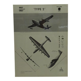 "Vintage WWii Aircraft Recognition Poster ""Type 2"", Japan, 1944"