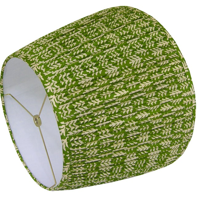 New, Made to Order, Green and Cream Cotton Printed Fabric, Pleated/Gathered Lamp Shade - Image 3 of 4