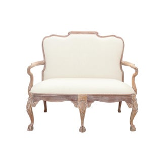 Chippendale Style White Washed Settee