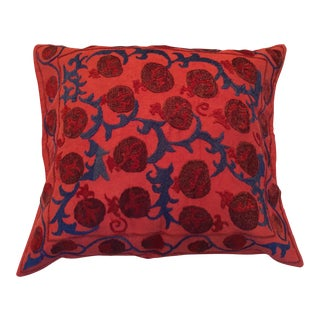 Vintage Red & Blue Suzani Pillow