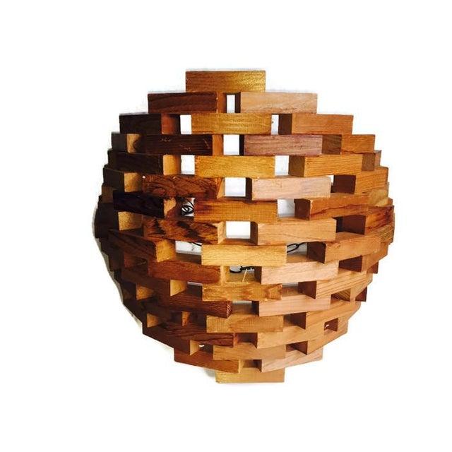 Large Mid-Century Wood Brutalist Hanging Planter - Image 6 of 7
