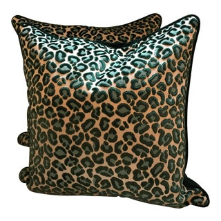 Beacon Hill Velvet Cheetah Pillows - A Pair