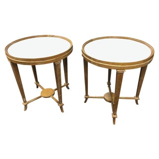 Round Mirrored Top Tables - A Pair