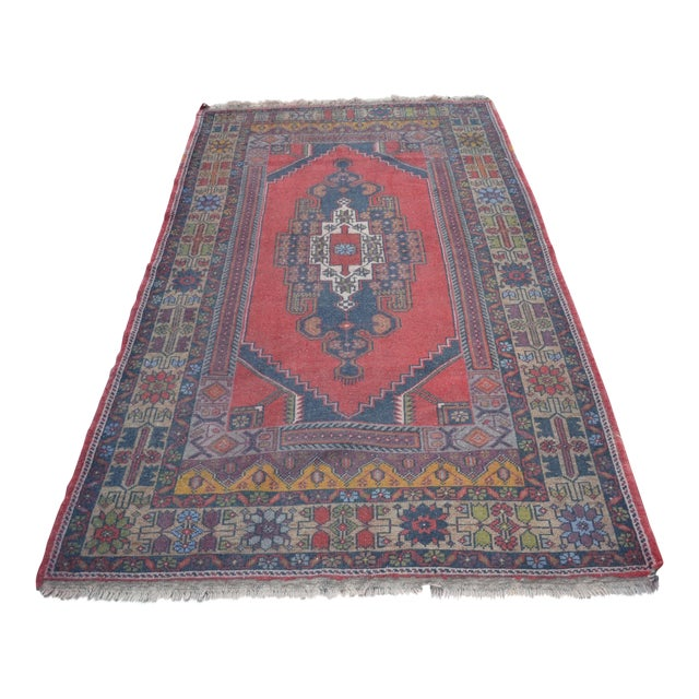 Turkish Handmade Floor Rug - 4′5″ × 8′3″ - Image 1 of 6