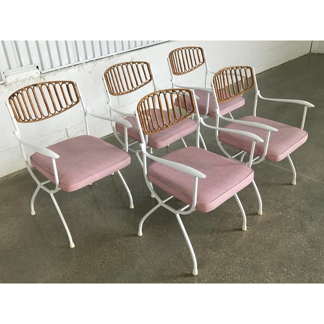 Mid-Century Modern Wrought Iron & Rattan Patio Dining Chairs - Set of 5 - Image 5 of 11