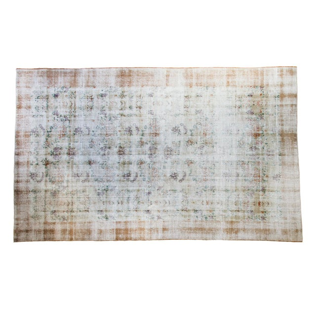 """60s Distressed Floral Oushak Rug - 6'3"""" x 10'2"""" - Image 1 of 7"""