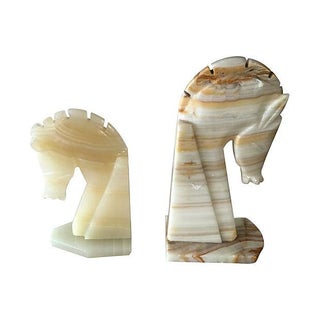 Mixed Onyx Horsehead Bookends - A Pair