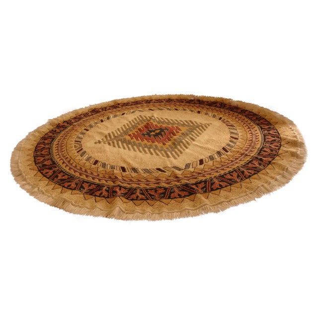 Round Native American Area Rug - 8 x 8 - Image 1 of 6